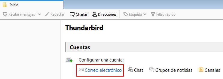 Crear cuenta Thunderbird